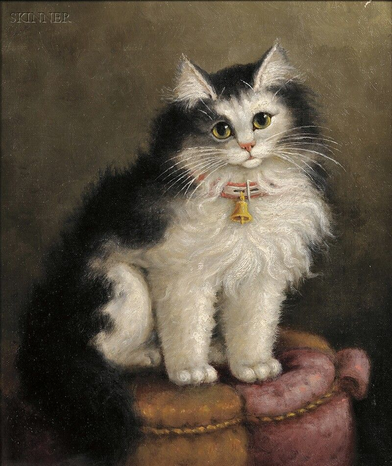 American 19th/20th century oil painting of a black and white cat on a tuffet by Percy A. Sanborn