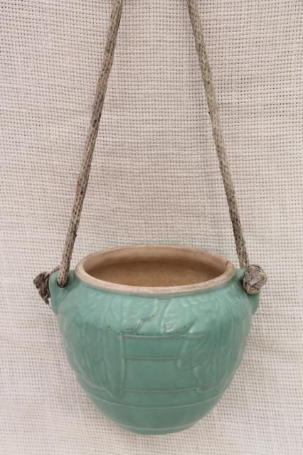 Vintage Mccoy Pottery Hanging Planter Flower Pot Aqua