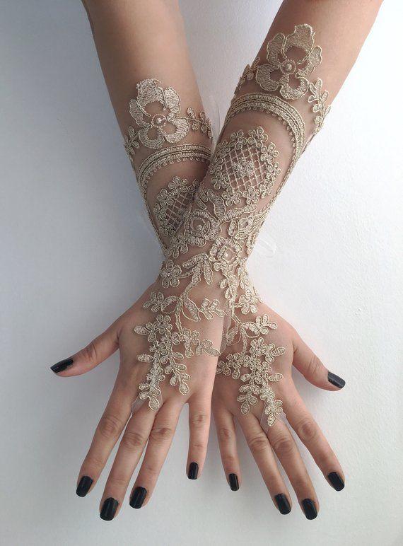 Wedding Glove Bridal Gloves Gold Lace Long Etsy
