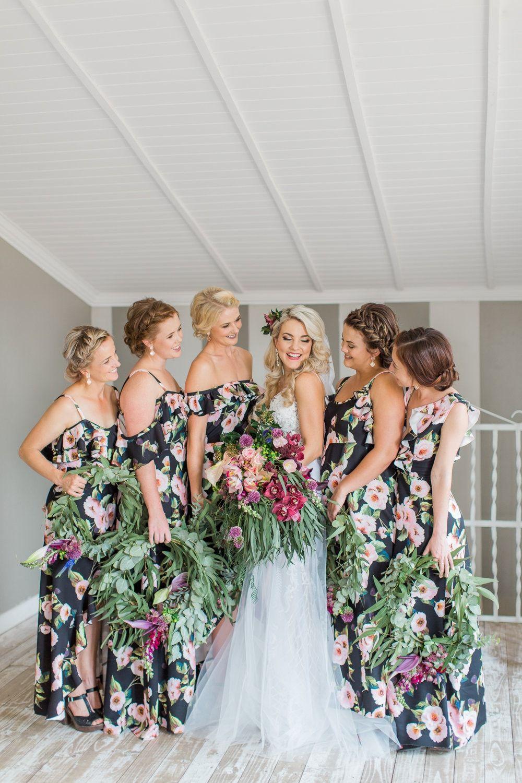 Dark Botanical Floral Wedding By Grace Studios Bridesmaid Dresses Floral Print Floral Bridesmaid Dresses Floral Bridesmaid Dresses Long