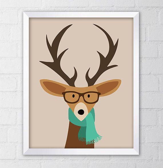 Hipster Deer Art Print 8x10 Printable by CheekySheepDesigns, $5.00