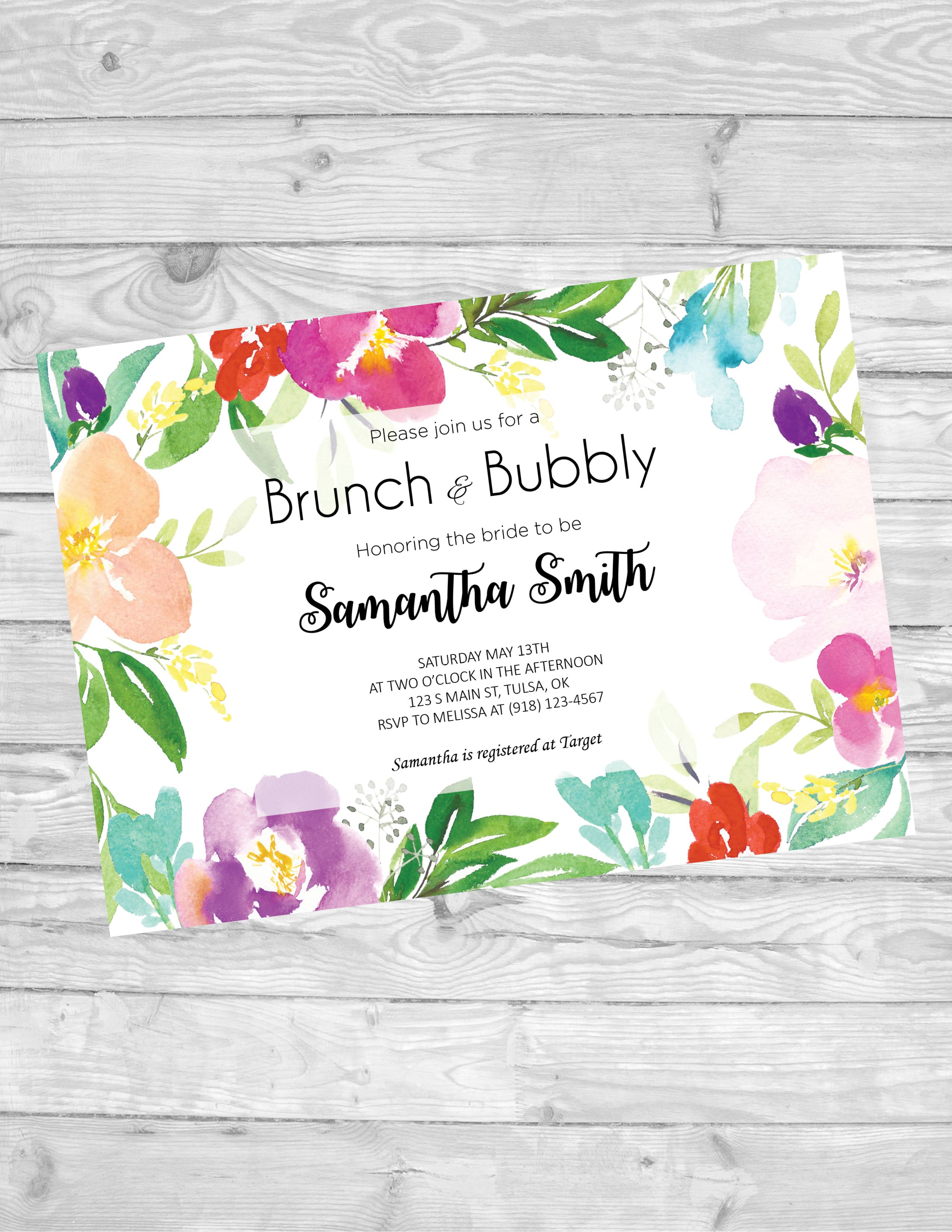 Brunch and bubbly bridal shower invitation - digital download - customized - watercolor flowers
