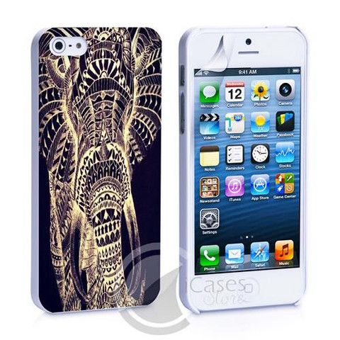Black Tribal Elephant iPhone 4, 4S, 5, 5C, 5S Samsung Galaxy S2, S3, S – iCasesStore