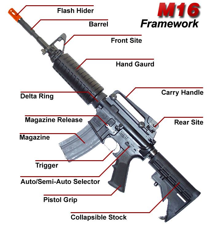 Guide Poster M 16 Diagram Parts Learn Them Battlefield Airsoft