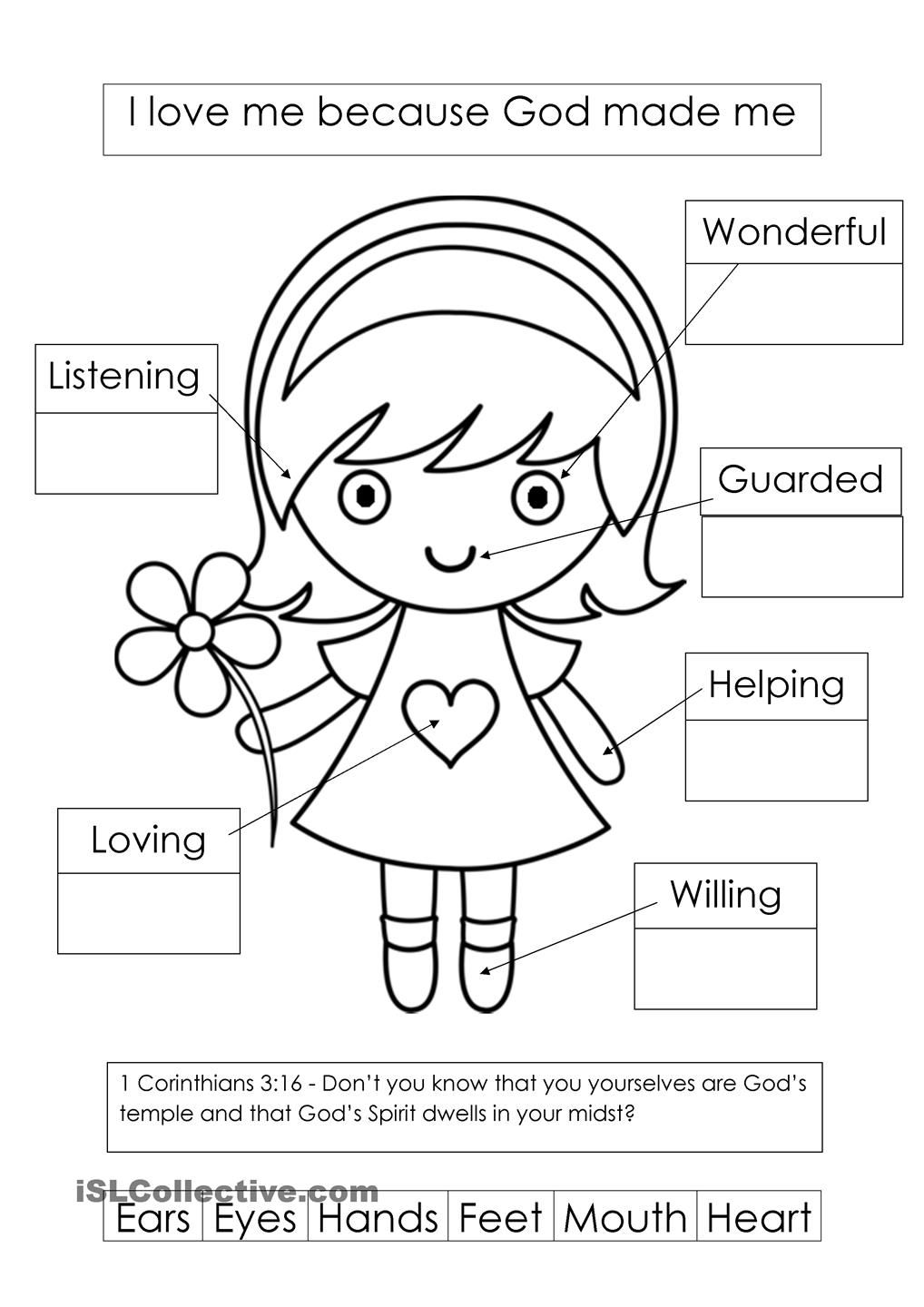 Worksheets Bible Worksheets For Preschoolers god made me i am fearfully and wonderfully preschool learning about your body at level listening speaking worksheets beginner kindergarten me
