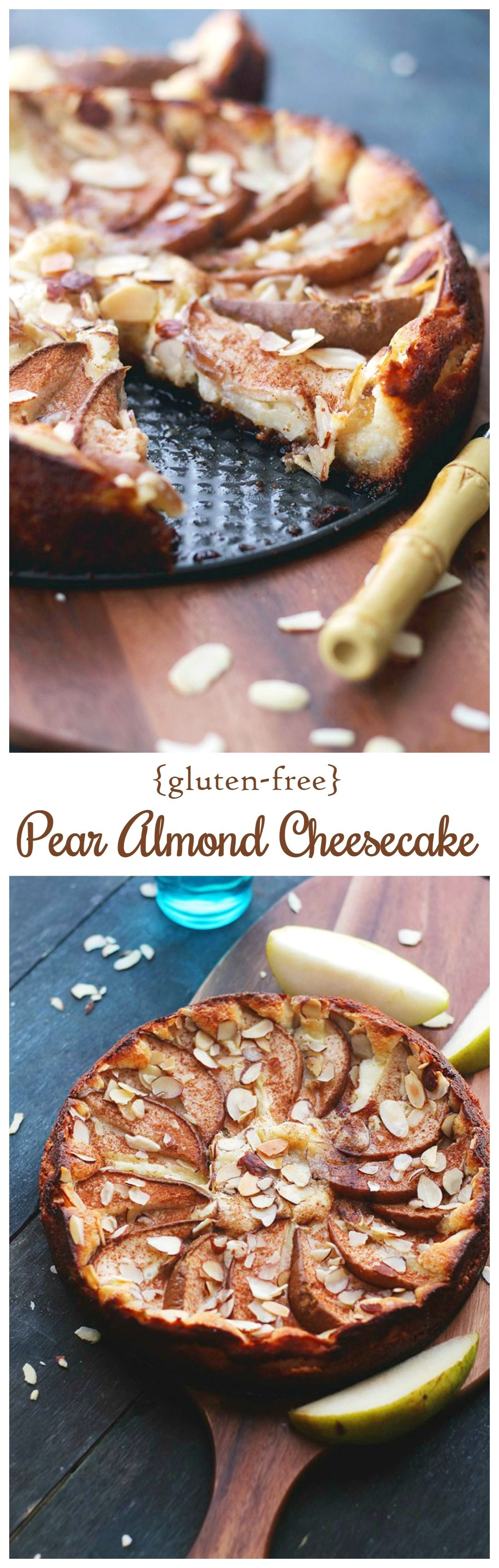 Sweet and silky Pear Almond Cheesecake Torte, prepared with a cream cheese mixture atop an almond-flour crust, and garnished with fresh pears.  Gluten Free Fall Dessert!