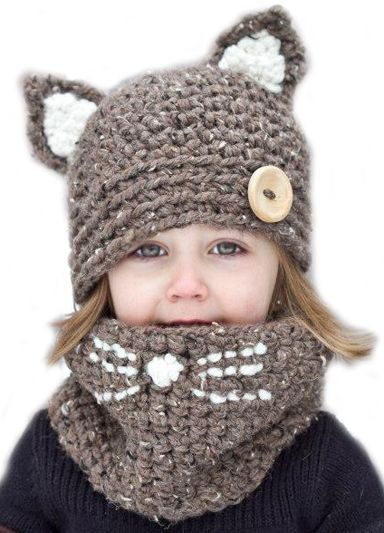 NEW Baby Toddler Beanie Critter Hat Mittens Set Gray Cat Winter Cap Super Soft