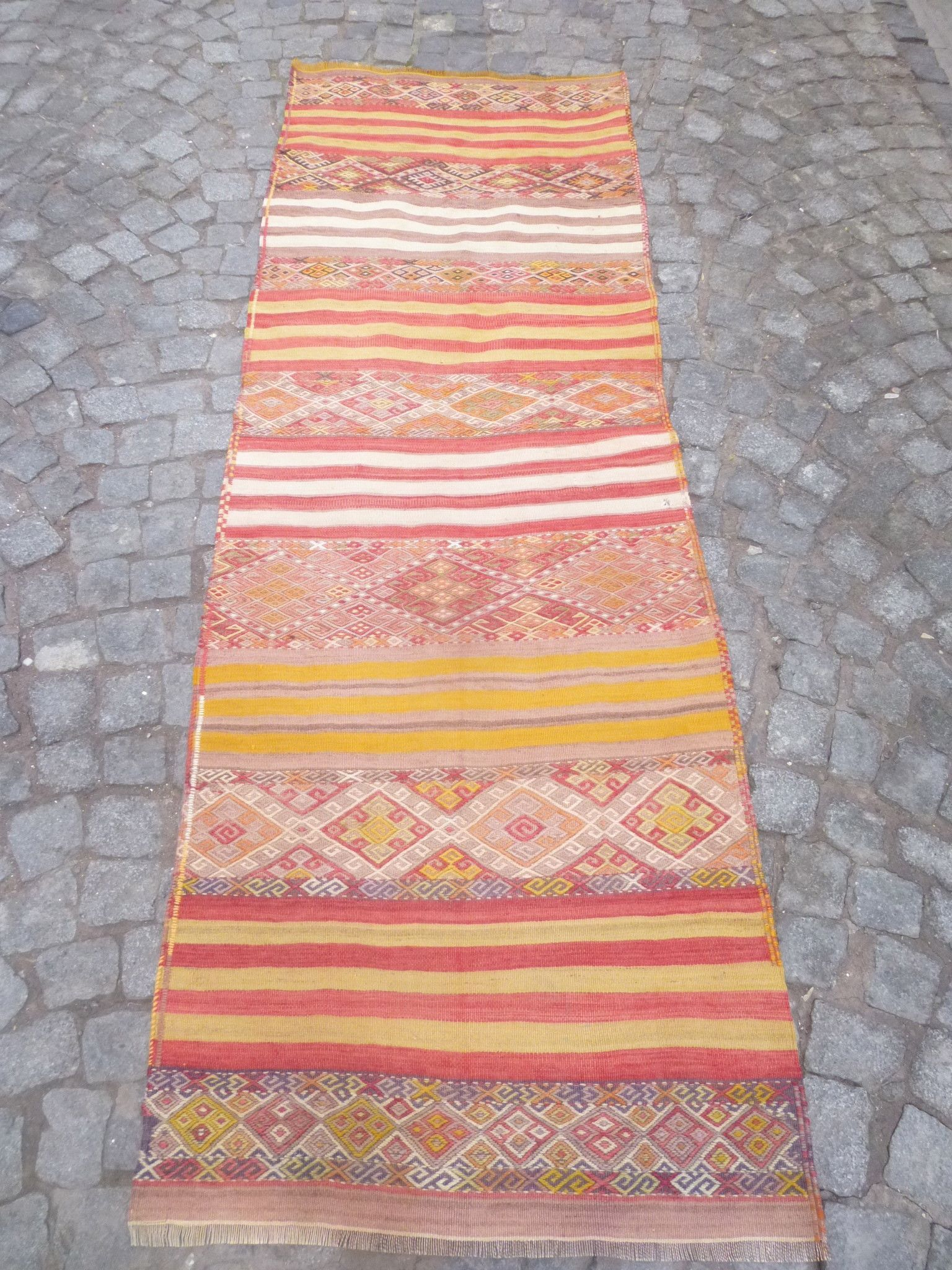 Hallway carpet runners sold by the foot   x  feet Pretty kilim runner rug with ethnic stripes  Rug