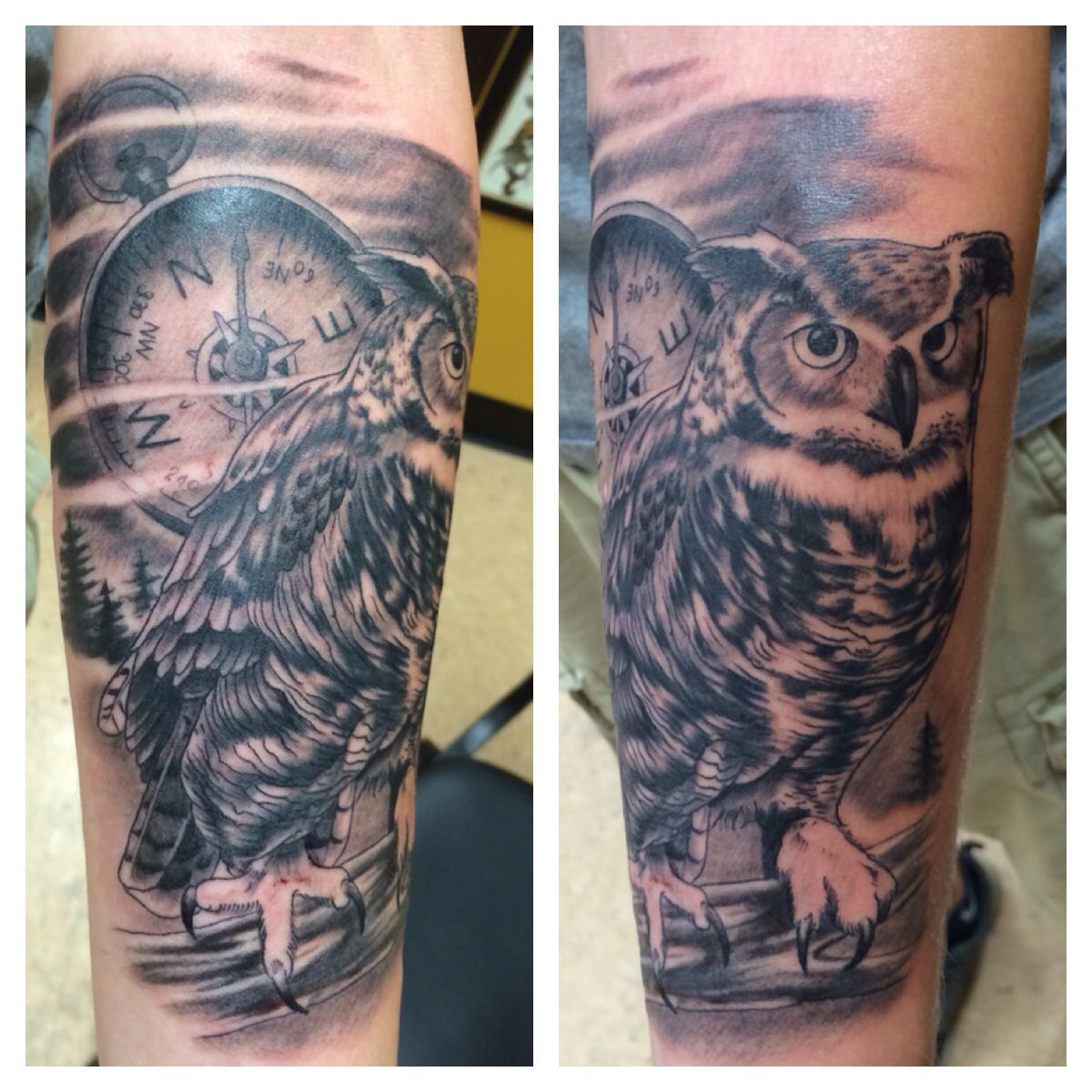 Owl And Compass Tattoo Artist Don Demers Body Art Tattoos Compass Tattoo 3d Tattoos