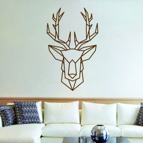 sticker mural t te de cerf origami g om trique d coration scandinave stickers muraux. Black Bedroom Furniture Sets. Home Design Ideas