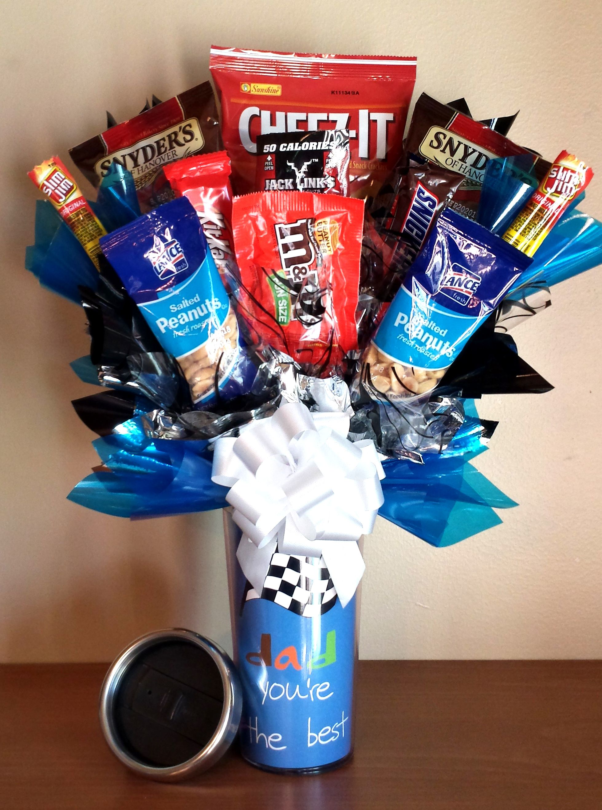 Father S Day Candy Bouquet Snack Basket Cup Candy