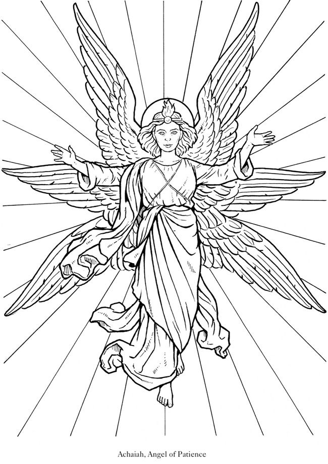 glorious angel 1 from dover publications httpwwwdoverpublicationscom - Coloring Pages Beautiful Angels