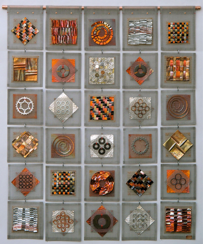 Frances Solar, Artist, Quilt, stainless mesh, copper wire & strip ...