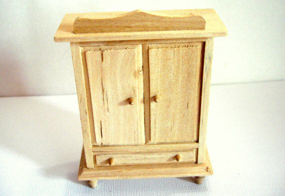 Dollhouse Armoire Bedroom Furniture Unfinished Pine Wood 1:12 Scale