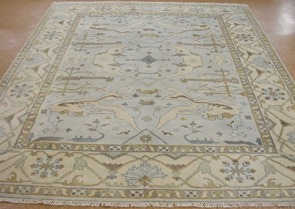 8 X 10 Oushak Hand Knotted Tribal Blue Ivory Wool New Oriental Rug Carpet