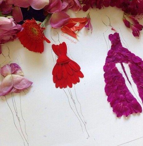 Dibujos de vestidos decorados con petalos de rosas  dibujo