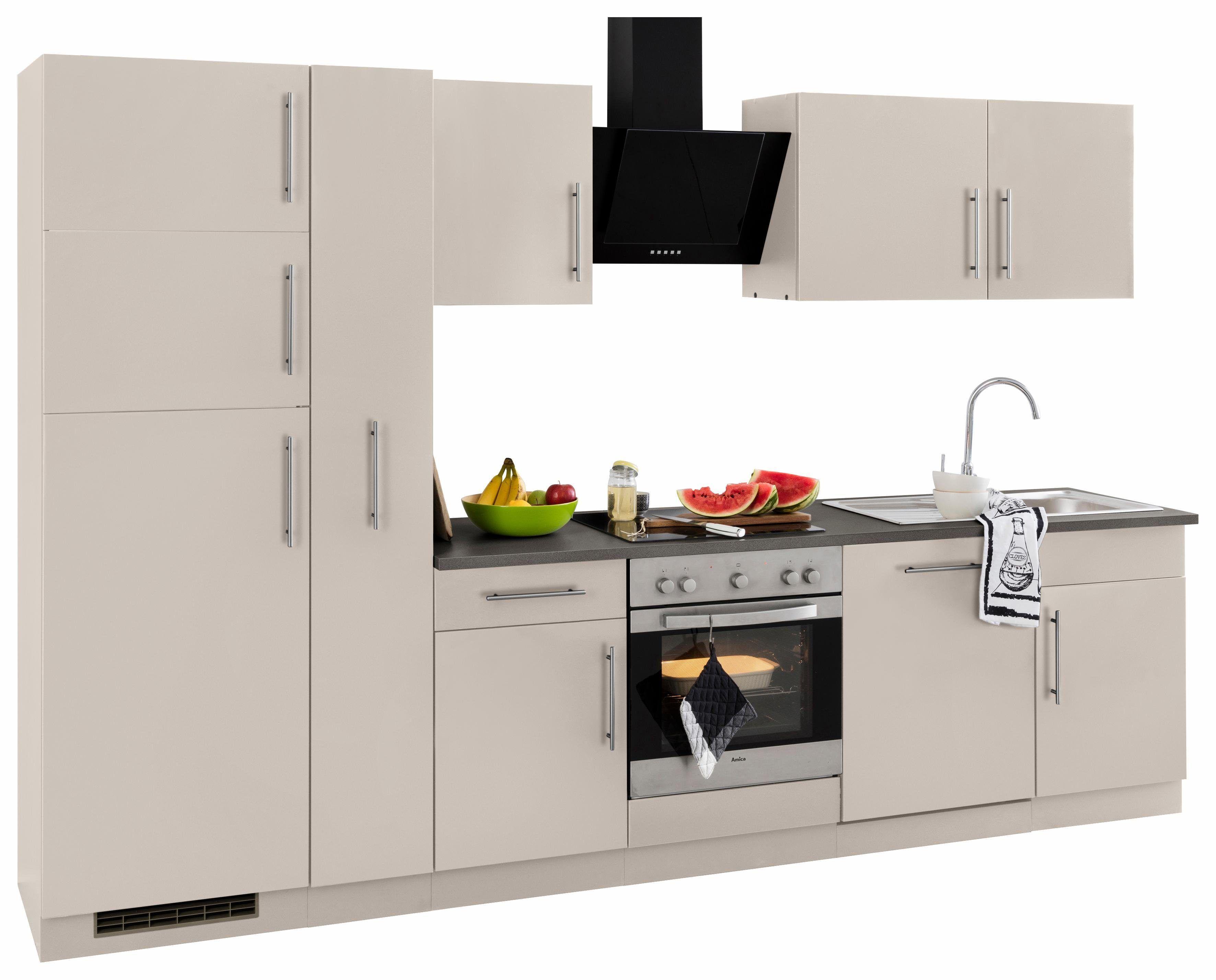 Küchenzeile mit E-Geräten beige, ohne Aufbauservice, »Cali