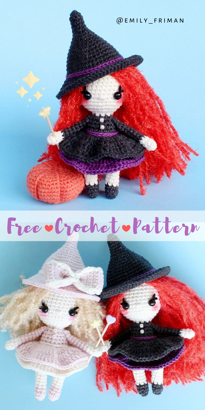 Free Amigurumi Witch Pattern by Emily Friman