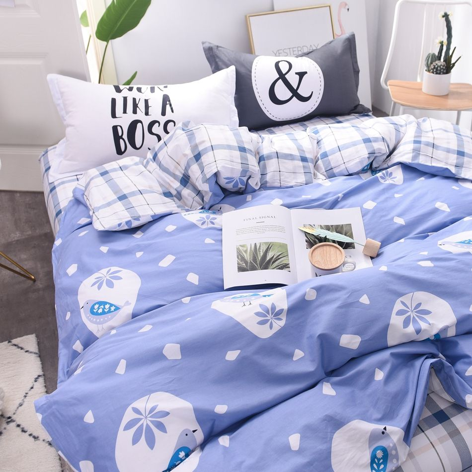 100 Cotton Light Purple Duvet Cover With Bird Pattern Plaid Bed