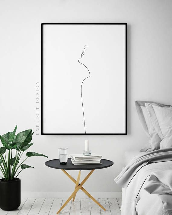 Abstract Face Printable, Minimalist Body Profile Art, Simple Fashion Prints, Black White Woman Illustration Poster, Fine Line Digital Print