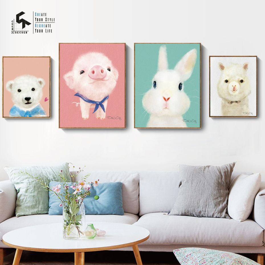 Create Recreate Baby Animals Poster For Nursery Room Canvas Oil Painting And Wall Art Print Dec Wall Art Canvas Painting Nursery Decor Wall Art Kids Room Paint