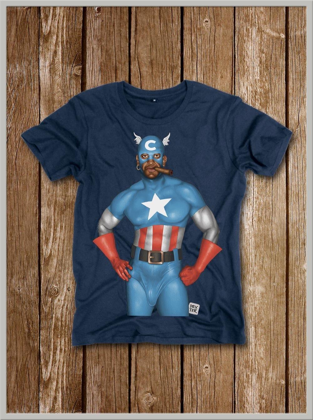 Maglietta a Maniche Corta per Uomo Capitan America
