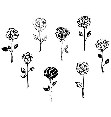 Rose Flowers Set Isolated On White Background Vector Image On Vectorstock Small Rose Tattoo Rose Tattoos Single Rose Tattoos