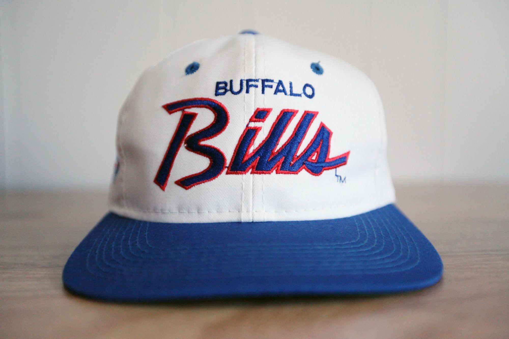 48970bc90e302 ... purchase vintage 90s buffalo bills sports specialties script the twill  white dome snapback hat 428eb 4bc98
