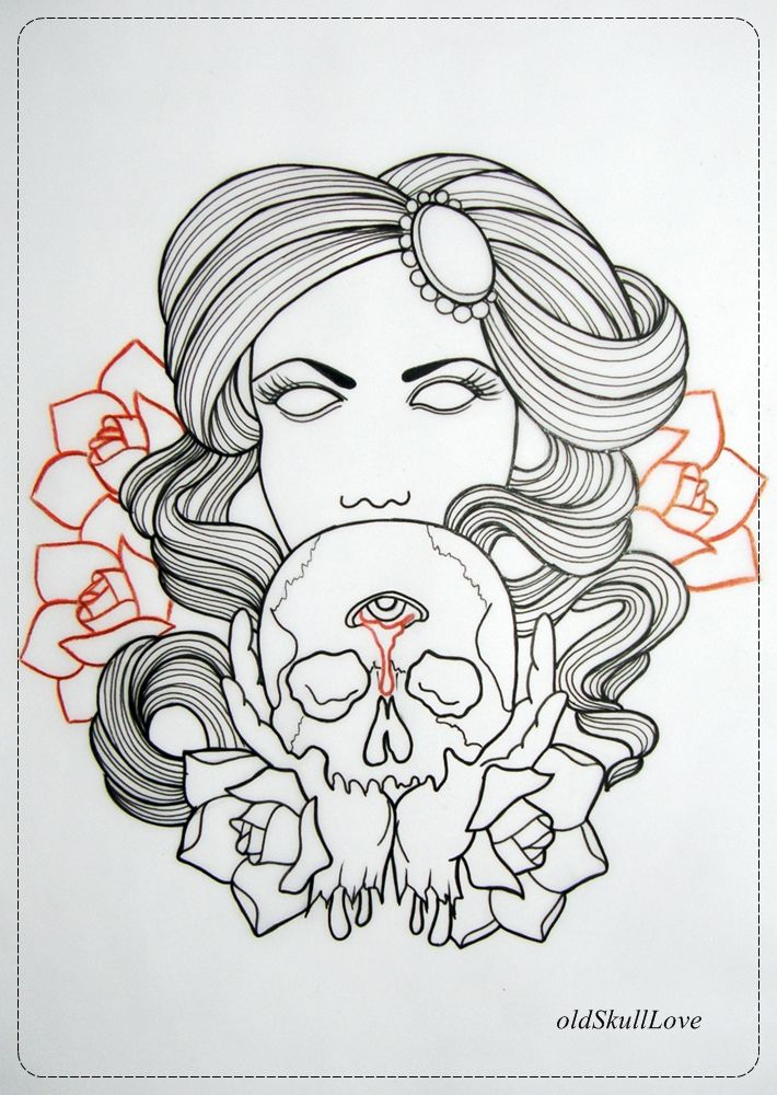 DEAD HEAD WITH SKULL Tattoo Design OUTLINE By