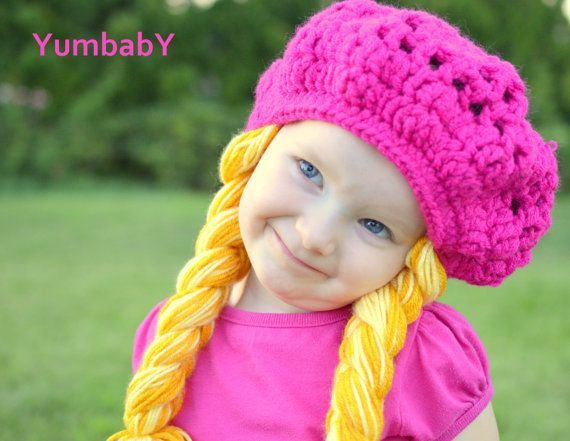 Any Color One Size Fits All Beret with Yellow Pigtails Any Color One Size Fits All Beret with Yellow Pigtails