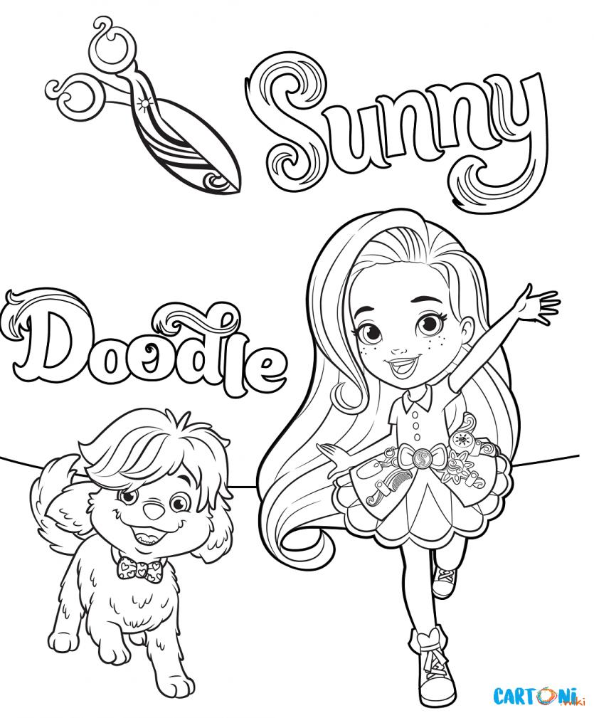 Sunny Day Colora Sunny E Doodle Cartoni Animati Sunny