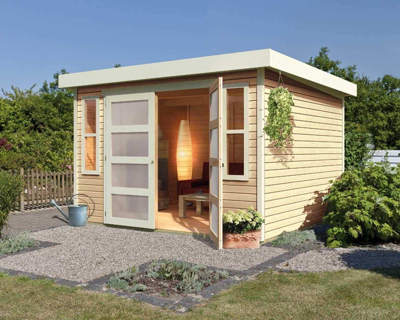 Abri de jardin toit plat en bois massif 19mm for Cabanon en bois toit plat