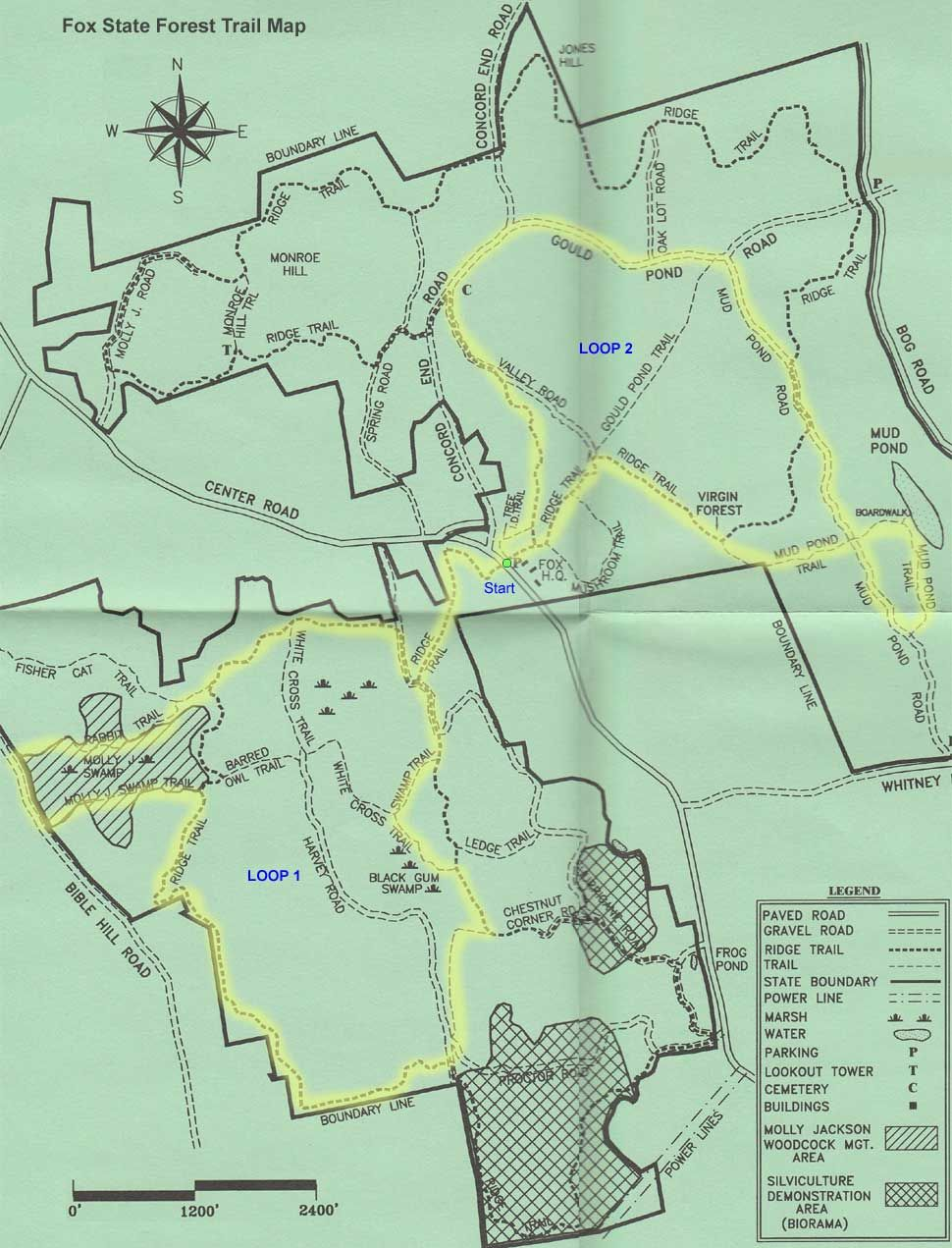 Trail map of hike route at Fox State Forest map courtesy of State