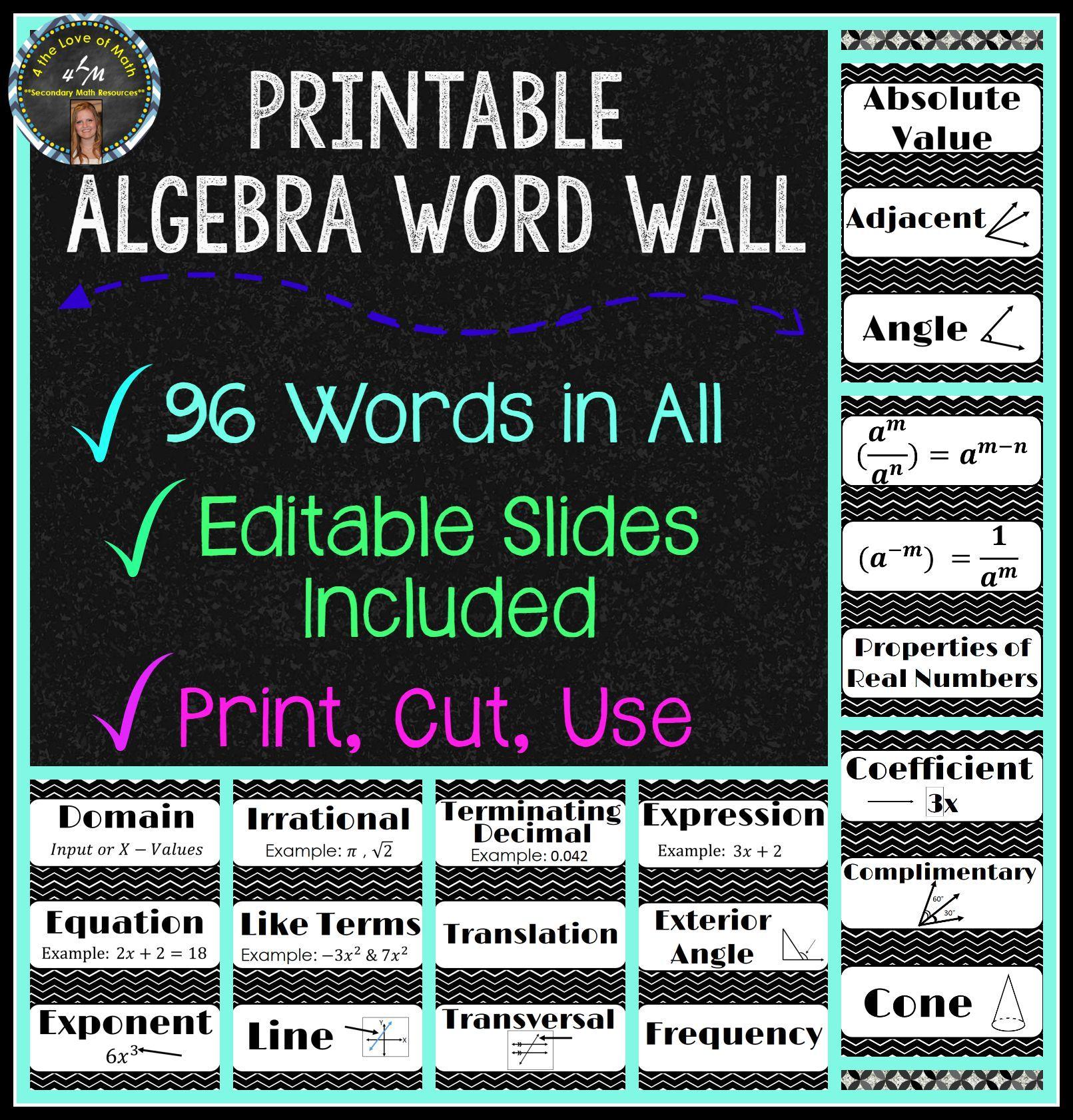 algebra word wall strips 96 in all math word walls on word wall id=22216