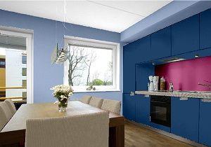 Küchen Farbkombination, Die Wandfarben In Blautönen Und Violett.