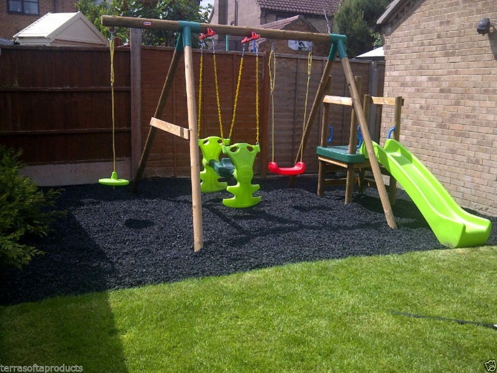 Details About Terrasofta Premium Soft Safe Play Surface Rubber Chippings Bark Chip Mulch Play Area Backyard Playground Landscaping Kids Backyard Playground