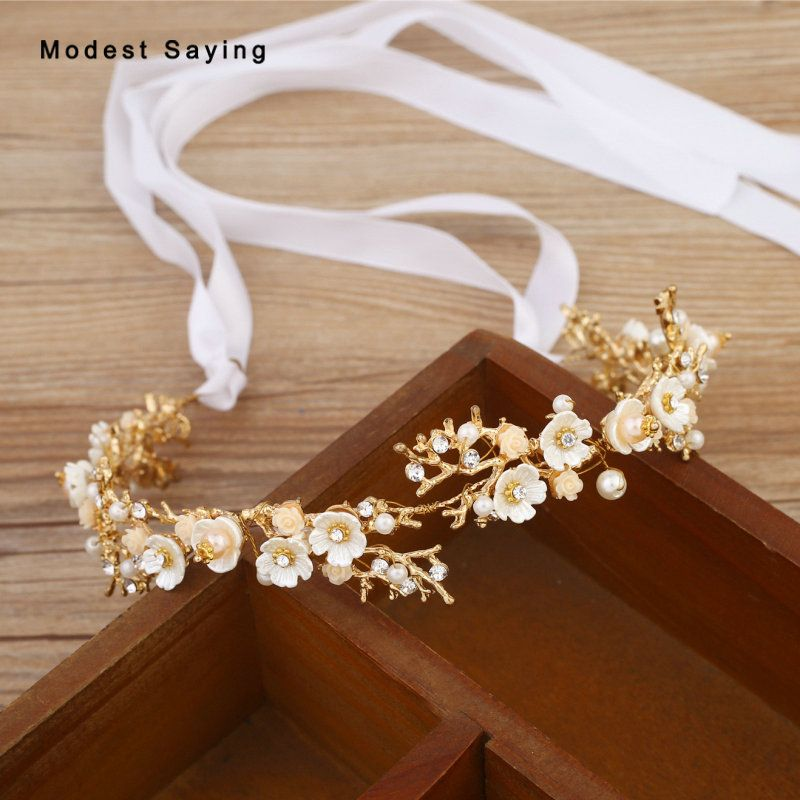 Find More Bridal Headwear Information About Gold Beaded Flowers Wedding Headbands 2018 With Ribbons Wreath Accessories For