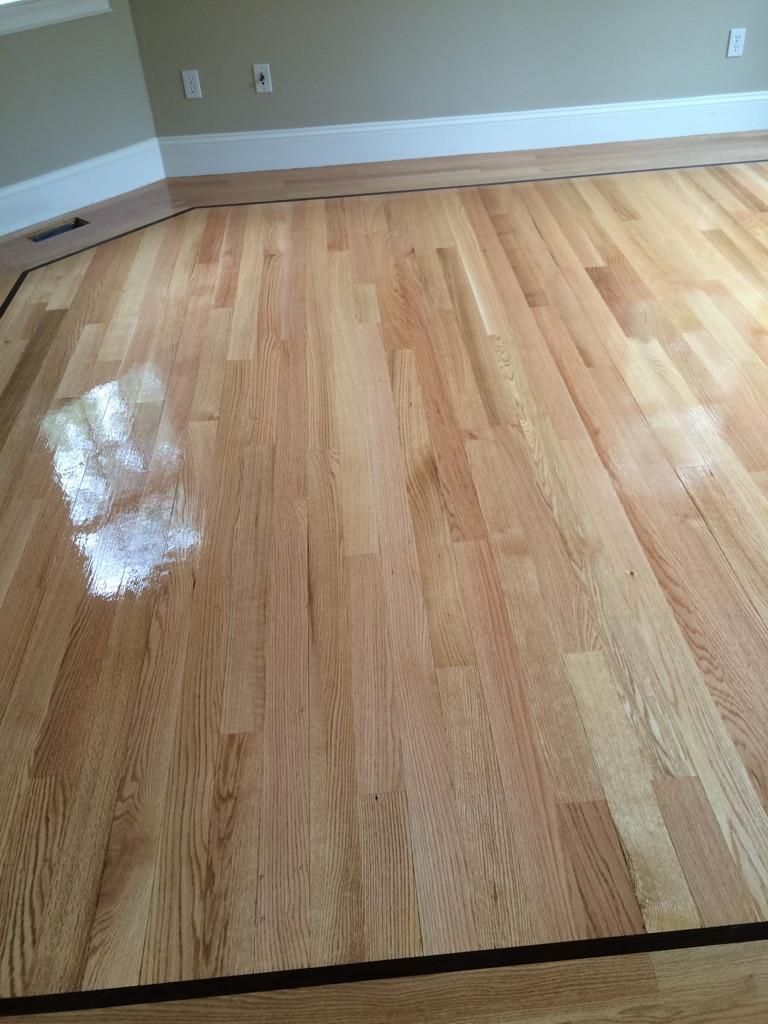 We Installed A Beautiful 3 1 4 Red Oak With 1 Walnut Strip Custom Hardwood Flooring For This Beautiful Home After Hardwood Floors Flooring Projects Flooring