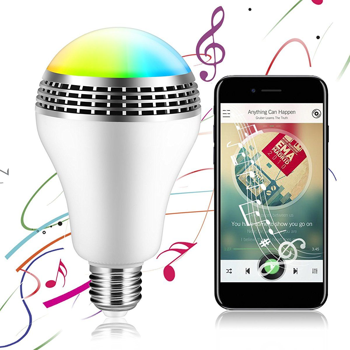 Icoco Bluetooth Smart Speaker Light E27 Led White Rgb Bulb Colorful Lamp Smart Music Audio Bluetooth Speaker With Remote Control For Home Stage Bluetooth Light Smart Speaker Home Automation System