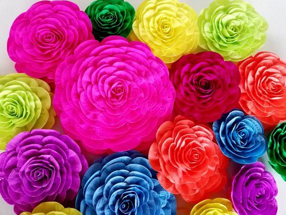12 Large Paper Flowers Mexico Party Decoration Fiesta Backdrop