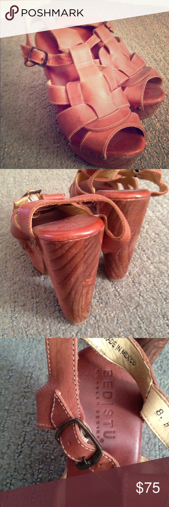 Bed Stu Melissa heels Distressed wooden and leather wedge/heel. Worn 2x ... Slight scratches on toe but shoe is made to look distressed so doesn't take away from look. These are perfect for summer. I love them but too hard to chase my kiddos around while wearing them. 5 inch heel Bed Stu Shoes Heels
