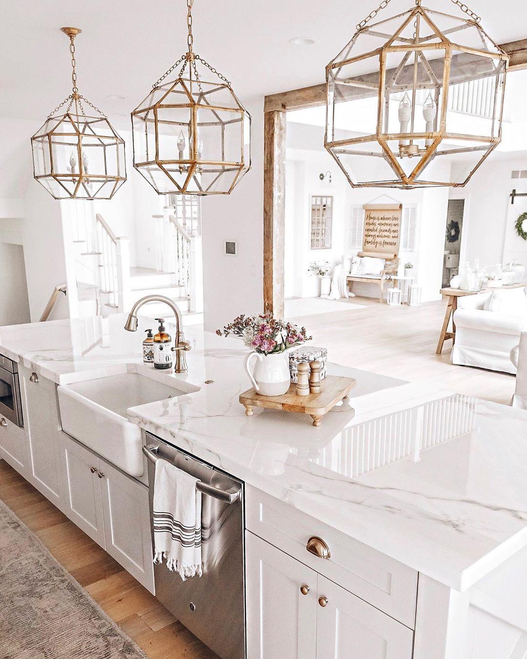 White Kitchen Coastal Farmhouse Porcelain Countertops Brass