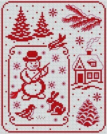 Маленькие картинки на Новогоднюю тему - можно вышивать картину как целиком, так и брать отдельные мотивы для вышивки открыток, елочных и...