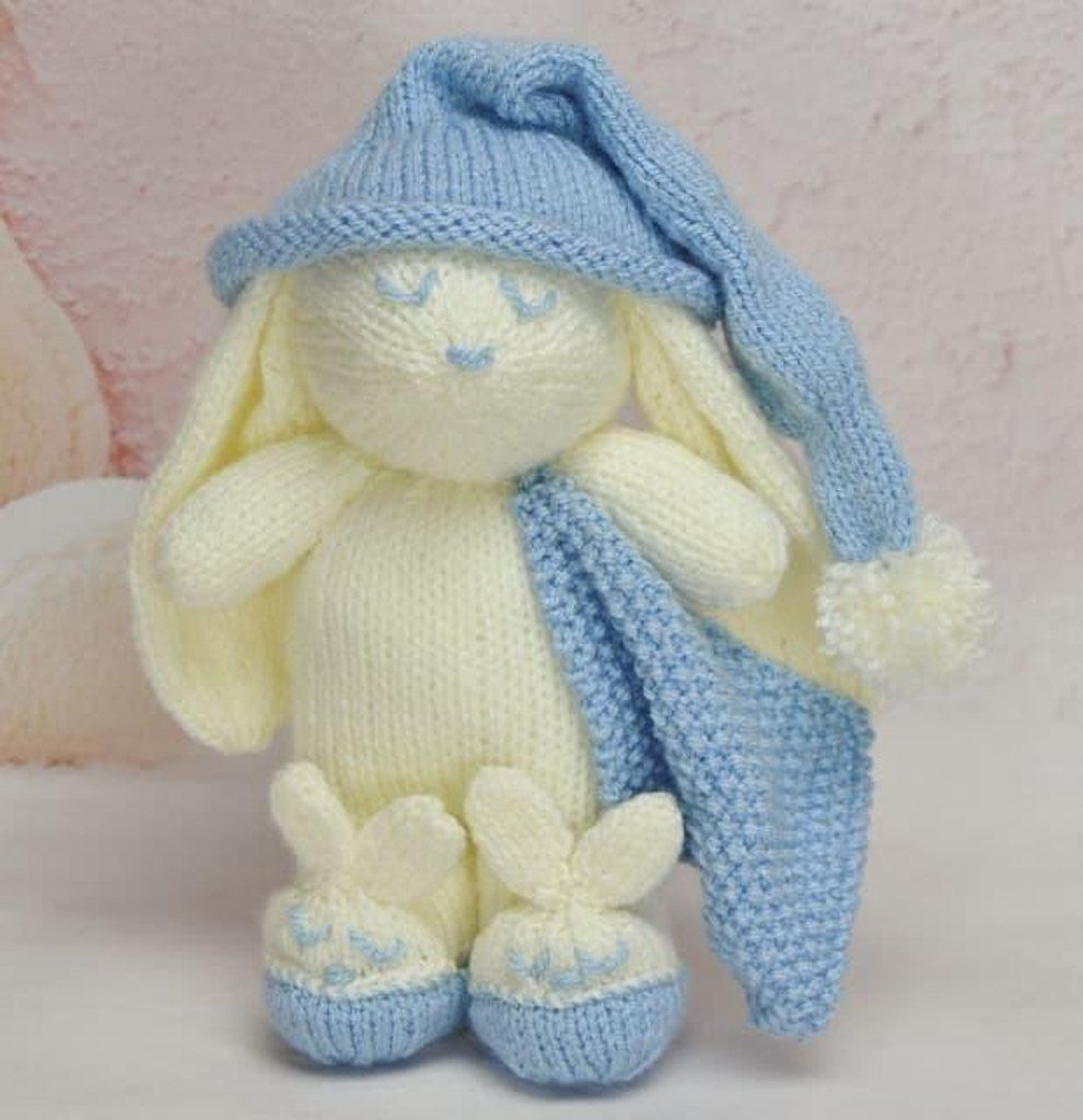 A gorgeous little bunny with comfort blanket and matching slippers ...