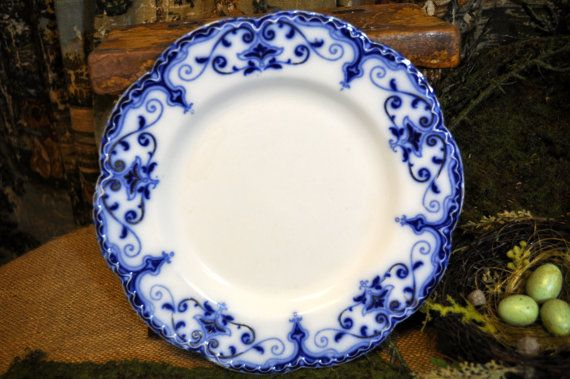 Flow Blue Plate Antique Blue and White Plate English Vintage Plate & Flow Blue Plate Antique Blue and White Plate English Vintage ...