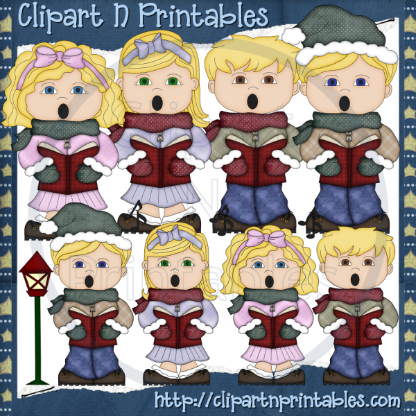 Christmas Carolers Blonde- #Clipart #ResellableClipart #ResellerClipart #Christmas #Carolers #Music #StreetLight #Boys #Girls
