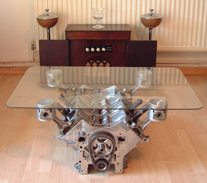 Rover v8 coffee table. The aluminum block makes this a lot cooler - Rover V8 - V8 Coffee Table House PR