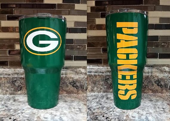 Green Bay Powder Coated Stainless Steel By Mag3kcustomclothing Tumbler Cups Diy Yeti Cup Designs Glitter Cups