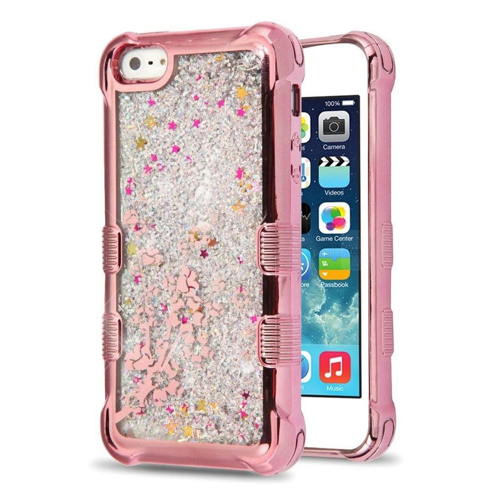 MyBat Tuff Quicksand Glitter Hard Dual Layer Plastic TPU Cover Case For Apple iPhone 5/5S/SE - Rose Gold