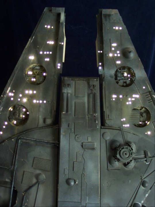 """Blade Runner - The """"Millennium Falcon"""" wired up with fiber optic lines to serve as a building in the Blade Runner skyline."""